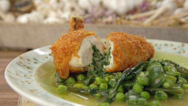Bbc Food Recipes Classic Chicken Kiev With Spring Vegetables