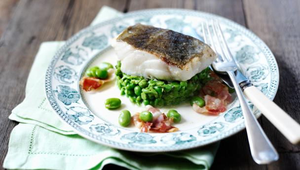Bbc Food Recipes Pan Fried Cod With Minted Peas Broad Beans And Pancetta